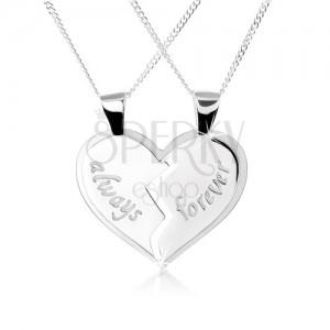 """Nyakék 925 ezüstből, kettős medál - megtört szív, """"always"""", """"forever"""" felirat"""