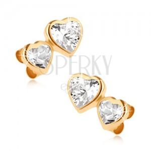 375 arany bedugós fülbevaló, kisebb és nagyobb cirkóniás szív