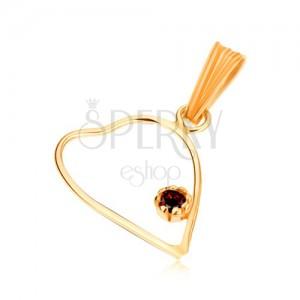Medál 9K sárga aranyból, vékony, szimetrikus szív körvonal, piros gránát