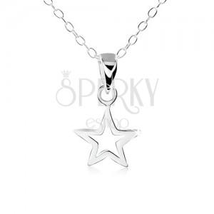 925 ezüst nyakék, lapos, ötágú csillag körvonal