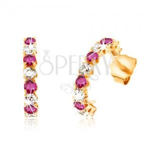 Fülbevaló 9K sárga aranyból - félkörök piros rubinokkal és átlátszó cirkóniákkal