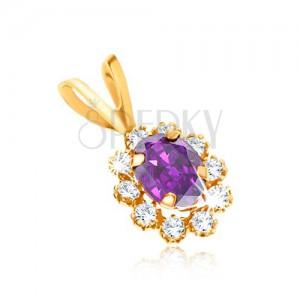 Medál 9K sárga aranyból - ovális lila ametiszt, átlátszó cirkóniás szegély