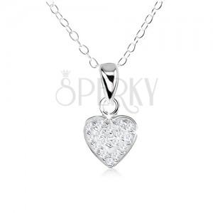 Nyakék 925 ezüstből, csillogó szívecske, átlátszó cirkóniákkal kirakva