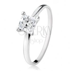 Eljegyzési gyűrű 925 ezüstből, cirkóniás négyzet, szűk szárak