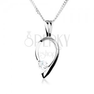 925 ezüst nyakék, fordított könnycsepp körvonal, átlátszó cirkóniával