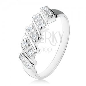 925 ezüst eljegyzési gyűrű, öt ferde sávval, átlátszó cirkóniákból