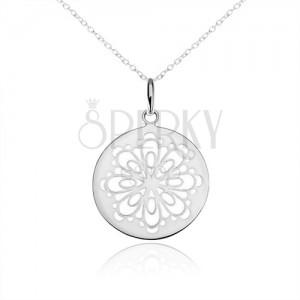 Ezüst nyakék 925, kerek medál, kivágott díszített virág