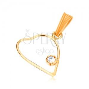 Medál 9K sárga aranyból, vékony szimmetrikus szív körvonal, átlátszó cirkónia