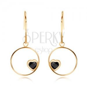 375 arany fülbevaló - vékony karika fekete zafír szívvel