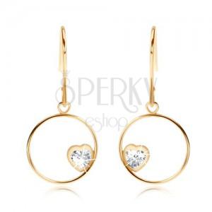 Fülbevaló 9K sárga aranyból - vékony karika átlátszó cirkóniás szívvel