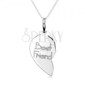 """Kettős 925 ezüst nyakék, szív alakú kettős medál, """"Best Friend"""" felirat"""