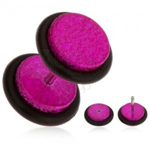 Fukszia fake plug fülbe akrilból, szemcsés felület, gumik