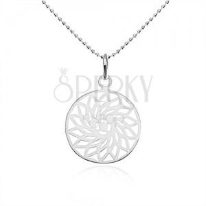 925 ezüst nyakék, golyós lánc, kivágott virág a karikában