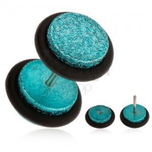 Türkisz fake plug fülbe, akrilból, szemcsés felület, gumicskák