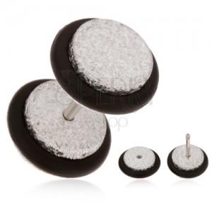 Csillogó fake plug fülbe, arkilból, ezüst árnyalat, fekete gumicskák