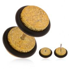 Hamis plug fülbe, akrilból, csillogó felület, arany színben, gumicskák