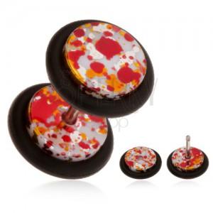 Akril, fake piercing fülbe, színes foltok a felületén, gumicskák
