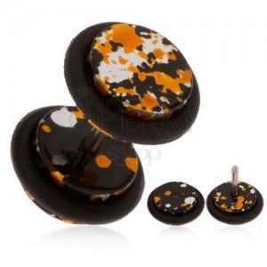 Akril, hamis plug fülbe - foltok fekete, narancs és ezüst színben