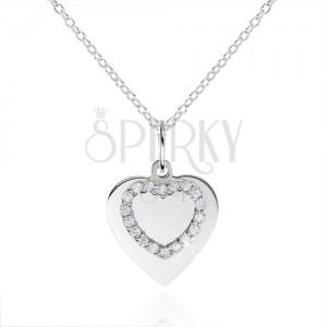 925 ezüst nyakék, lapos szív és szív kontúr cirkóniákkal