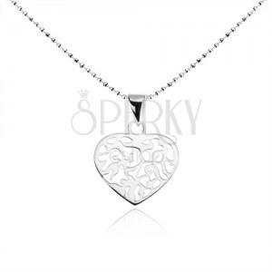 Nyakék 925 ezüstből, golyós lánc, lapos szív kivágásokkal