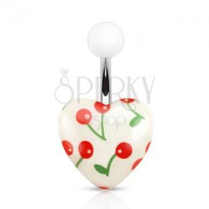 Acél piercing köldökbe, fehér, akril golyó és szív cseresznyével