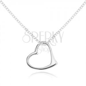 Nyakék 925 ezüstből, finom lánc, aszimetrikus szív kontúr