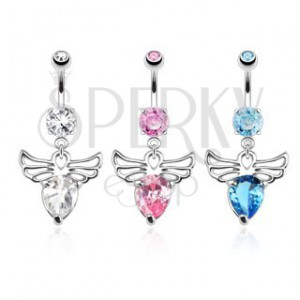Piercing köldökbe acélból - angyal, díszített kivágásokkal, színes cirkóniák