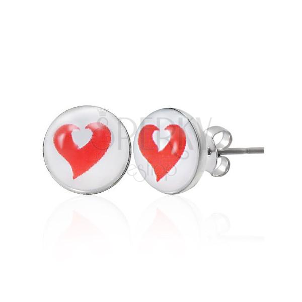Bedugós acél fülbevaló - fehér és piros szív
