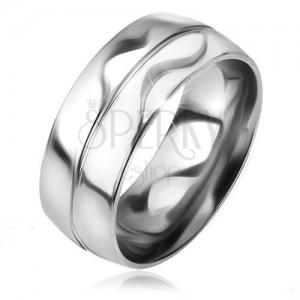 Fényes, sima gyűrű acélból, ezüst szín, dísz bemetszés középen