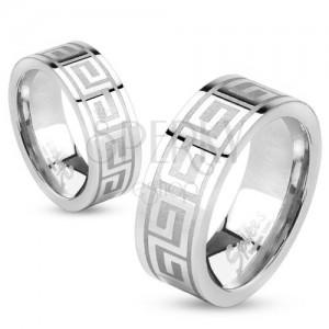 Gyűrű acélból, ezüst színben, fényes felület, görög kulcs, 6 mm