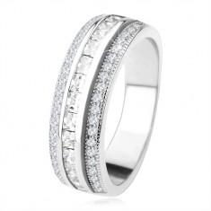 Csillogó gyűrű 925 ezüstből, kiemelkedő középső sáv, átlátszó cirkónia