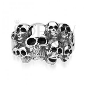 Sebészeti acél gyűrű, tíz koponya