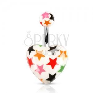 Köldökpiercing acélból, golyó és szív - fehér felület, színes csillagok