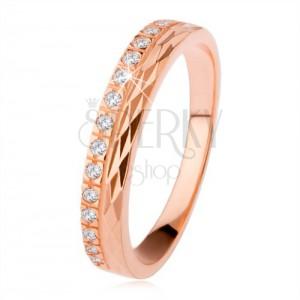 925 ezüst gyűrű bronz színben, gyémánt vágás, cirkónia vonal