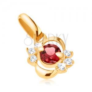 Medál 9K sárga aranyból, fényes elipszis átlátszó cirkóniákkal, piros gránát