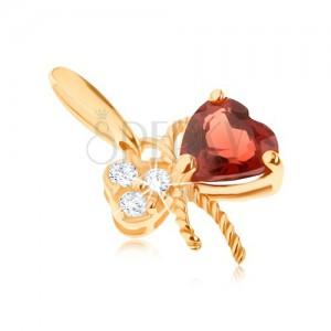 375 arany medál - masni, piros gránáttal és átlátszó cirkóniákkal díszítve