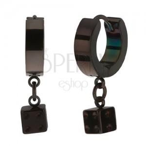 Szögecskés acél fülbevaló, fekete szín, fényes felület, játék kocka