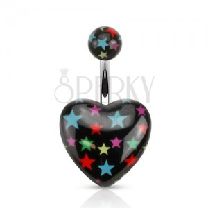 Köldökpiercing acélból, fekete golyó és szív színes csillagokkal