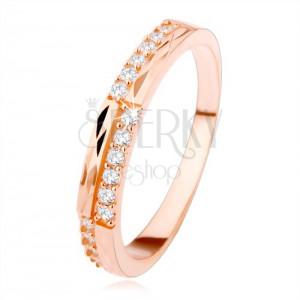 925 ezüst gyűrű réz színben, átlátszó cirkóniák és gyémánt vágás