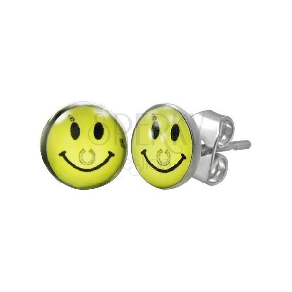 Acél fülbevaló - sárga smiley patkóval, stekkerek
