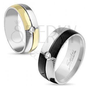 Acél gyűrű ezüst és fekete színben, cirkónia középen, 8 mm