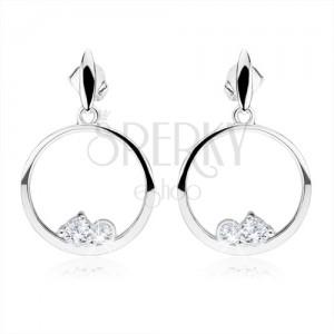 925 ezüst fülbevaló, karikák, két, átlátszó, kerek cirkónia, ovális