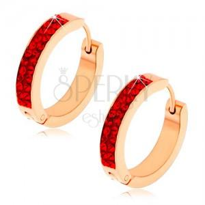 Szögecskés fülbevaló acélból, réz szín, rubinvörös cirkóniák