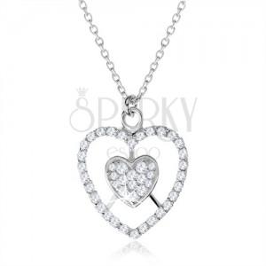 925 ezüst nyakék, szív és szív kontúr átlátszó cirkóniákkal