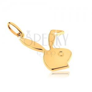 Medál 9K sárga aranyból, fényes nyuszi fejecske, Playboy