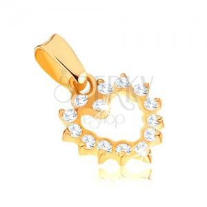 Csillogó 375 arany medál - egyenletes, cirkóniás szív kontúr
