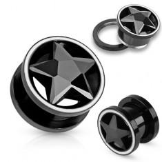 Alagút acélból fekete színben, cirkóniás, csiszolt csillag, fehér keret