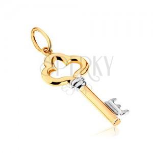 Kétszínű medál 9K aranyból - fényes, díszesen kivágott kulcs