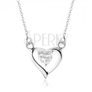 925 ezüst nyakék, aszimmetrikus szív körvonal, cirkóniás szívecske