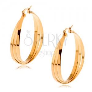 Karika fülbevaló sebészeti acélból arany színben, három egymást keresztező vonal